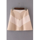 Women's Fashion Geo Patchwork Short A-line Suede PU Skirt