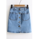2016 New Style Cute Cat Pockets Button Front Denim Skirt