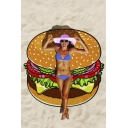 Cute Hamburger Print Beach Towel Shawl Cushion 160*160