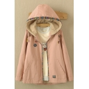 New Arrival Contrast Trim Drawstring Hooded Fleece Coat with Pocket