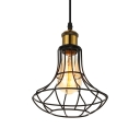 7.5 Inches Wide Single Light Mini Cage LED Pendant in Industrial Style