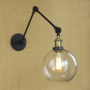 Vintage Black Finished Single Light Adjustable LED Wall Sconce with Clear Globe Shade