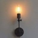 Simple Black One Light Wall Sconce Adjustable LED Wall Lighting