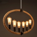 Oval 6 Light Rope LED Chandelier in Black Finish 39.37