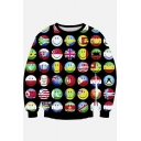 Unisex 3d Smile Face Print Crew Neck Long Sleeve Pullover Sweatshirts S-XL