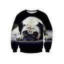 Unisex Fashion Shar-Pei Puppy Print Crew Neck Pullover Sweatshirt S-XL