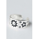 New Arrival Fashion Cute Sun Star Moon Pattern Adjustable Open Ring