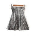 2016 Autumn Houndstooth Print High Waist Swing Short Skirts
