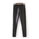 2016 Autumn Fashion PU Skinny Pants in Black