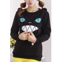 Women Zip Mouth Smile Shoulder 3D Ear Cat Jumper Sweatshirt Top