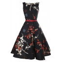 Vintage Floral Sleeveless Swing Dress Midi A-line Dress