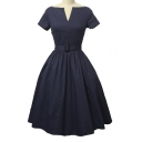 Elegant Vintage V-neck Short Sleeve Swing Dress