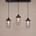 Wrought Iron Style Three Light Black Finished Cage LED Multi Light Pendant