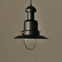 Vintage Black Industrial 1 Light LED Pendant Lighting in Nautical Style