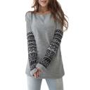 Women Round Neck Long Sleeve Geometric Print Pullover Sweatshirt T-Shirt Top