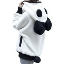Women's Panda Ear Tail Zip up Hoodie Outerwear