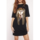 Fashion Egyptian Print Casual T-Shirt Dress Black