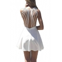Sexy Strappy Back Sleeveless A-line Dress with Zip Detail