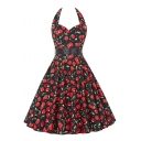 Vintage Berry Print Self-tie Halter A-line Dress
