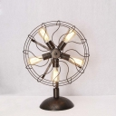 Antique Copper Five Light Fan Shaped LED Table Lamp Accent Table Lamp