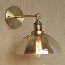 Industrial Style 1 Light Semi Globe Glass Hallway LED Wall Sconce