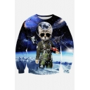 Hipsters 3d Digital Cat Galaxy Printed Crew Neck Pullover Sweater Sweatshirt