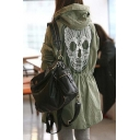 2016 New Women's Fashion Skull Pattern Elastic Waist Hooded Trench Coat
