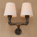 Inddor 2 Light LED Wall Lamp with Natural Fabric Shade in Antique Bronze Finish