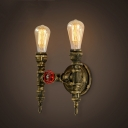 11'' H Double Light Torch LED Wall Sconce in Antique Brass Finish
