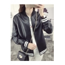 Fashion Letter M Back Striped Trims PU Baseball Jacket