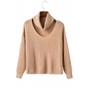 New Fashion High Neck Sweater with Cut Out