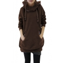 Women Winter Novelty Prints Pockets Front Lined Hoodie