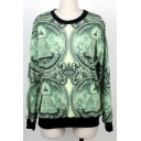 Women's Print Roll Neck Pullover Sweatshirt