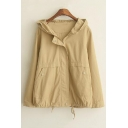 New Arrival Cute Solid Zip Front Hooded Coat