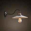 Single Light Gooseneck Barn LED Wall Light with White Saucer Shade