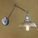 Ribbed Glass Bowl Shade Single Light Adjustable LED Wall Sconce in Industrial Style