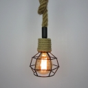 Mini Cage LED Pendant with Rope Chain in Industrial Style