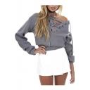 Women's Drop Shoulder Ribbed Lace Up Knit Crop Sweatshirt
