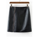 Fashion High Waist Bodycon Mini PU Skirt with Zipper