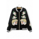 New Style Tiger Floral Embroidered Contrast Trim Baseball Jacket