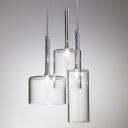 Round Canopy Clear Glass Multi-Light Pendant Light In Designer Style Three Lights