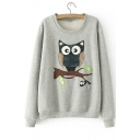 Fashionable Cartoon Owl Print Long Sleeve Round Neck Fleece Sweatshirt