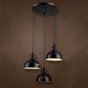 Three Light Bowl Shade LED Multi Light Pendant in Black Industrial Style