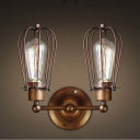 Wrought Iron 2  Light Indoor Hallway LED Wall Sconce in Copper Finish