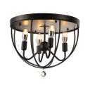 Country Style 16'' Wide 4 Light Foyer LED Flush Mount Ceiling Light in Black