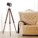 Cheap Industrial Style 1 Light 55'' H Wood Base Tripod LED Floor Lamp in Black
