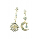 2016 New Vintage Earrings Fashion Jewelry Sun Moon Star Ocean Goddess Gem Earrings