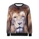 Women's Fashion Lion Painting Thin Sweater Sweatshirt Good Quality