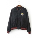 New Arrival Contrast Trim Tiger Embroidered Stand Collar Baseball Jacket