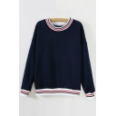 Fashionable Striped Trim Long Sleeve Round Neck Fleece Sweatshirt